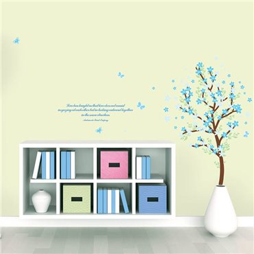 Sticker arbre et feuilles bleues - stickers citations & stickers muraux - fanastick.com