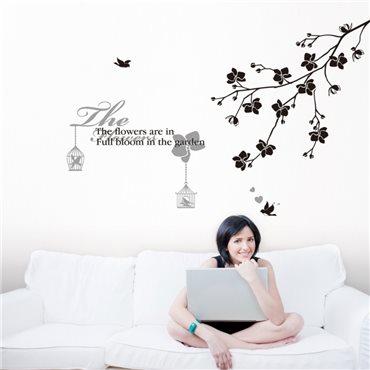 Sticker texte flowers avec branche et oiseaux - stickers fleurs & stickers muraux - fanastick.com