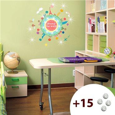 Sticker mapmonde pour enfants +15 cristaux Swarovski - stickers swarovski® elements & stickers muraux - fanastick.com