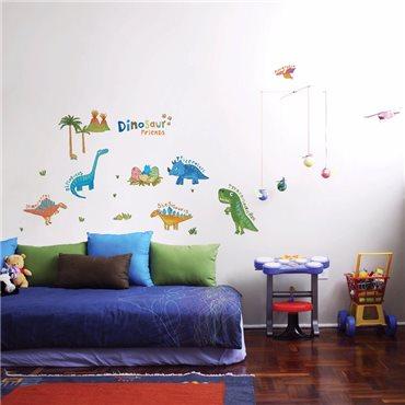 Sticker Petits dinosaures colorés - stickers chambre enfant & stickers enfant - fanastick.com