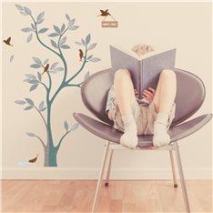 Sticker arbre design et oiseaux