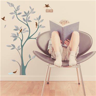 Sticker arbre design et oiseaux - stickers chambre enfant & stickers enfant - fanastick.com