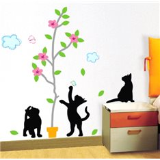 Sticker Chats noirs et arbres