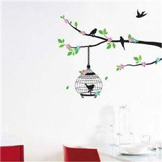 Sticker arbre fleuri et cage oiseaux