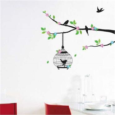 Sticker arbre fleuri et cage oiseaux - stickers arbre & stickers muraux - fanastick.com