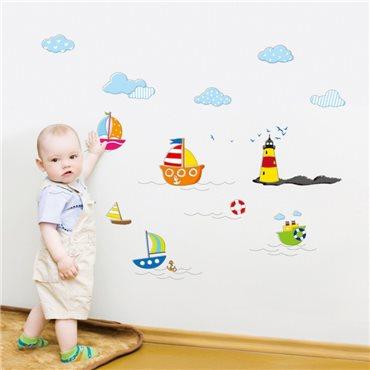 Sticker bébé mer et bateaux - stickers chambre bébé & stickers enfant - fanastick.com
