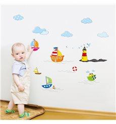 Sticker bébé mer et bateaux