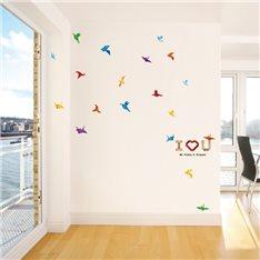Sticker oiseaux en papier et I love you