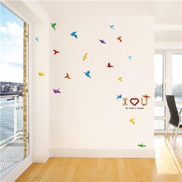 Sticker oiseaux en papier et I love you - stickers oiseaux & stickers muraux - fanastick.com