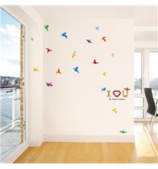 Sticker oiseaux en papier et I love you