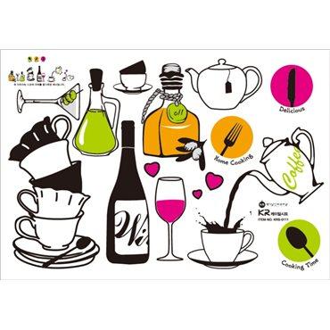 Sticker vin et thé - stickers cuisine & stickers muraux - fanastick.com