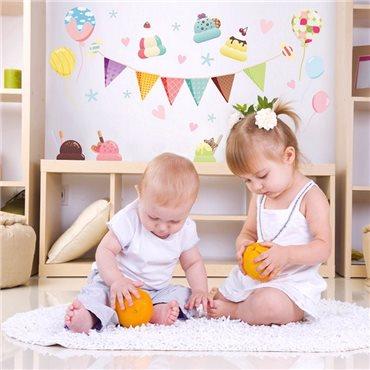 Sticker fête glaces cheesecake et ballons - stickers chambre bébé & stickers enfant - fanastick.com