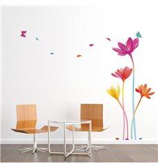 Sticker fleurs arc-en-ciel