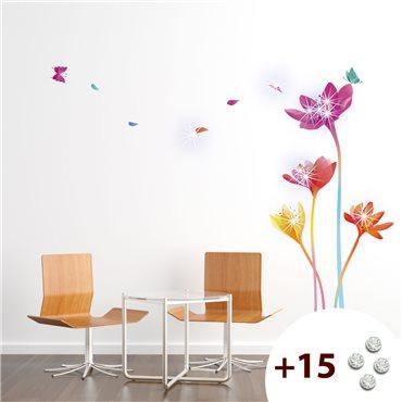 Sticker fleurs arc-en-ciel +15 cristaux Swarovski - stickers swarovski® elements & stickers muraux - fanastick.com