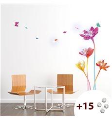 Sticker fleurs arc-en-ciel +15 cristaux Swarovski