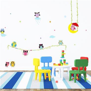 Sticker amis hiboux - stickers enfants & stickers enfant - fanastick.com