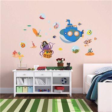 Sticker pieuvre et sous-marin - stickers animaux enfant & stickers enfant - fanastick.com