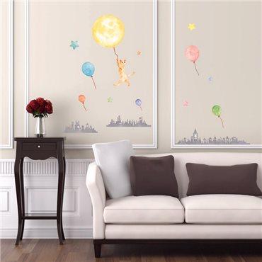 Sticker Phosphorescents Ville Chat Ballons et Étoiles - stickers phosphorescent & stickers muraux - fanastick.com