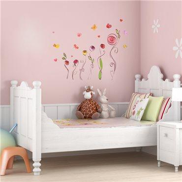 Sticker aquarelle roses et papillons - stickers chambre enfant & stickers enfant - fanastick.com