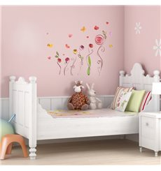 Sticker aquarelle roses et papillons