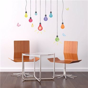 Sticker ampoules multicolores et papillons - stickers salon & stickers muraux - fanastick.com