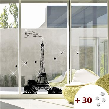 Sticker ParisTour Eiffel + 30 Swarovski Elements - stickers swarovski® elements & stickers muraux - fanastick.com