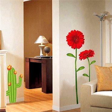 Sticker fleurs gerbera rouges - stickers fleurs & stickers muraux - fanastick.com