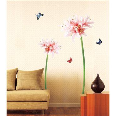 Sticker fleurs de Lis roses et blanches et papillons - stickers fleurs & stickers muraux - fanastick.com