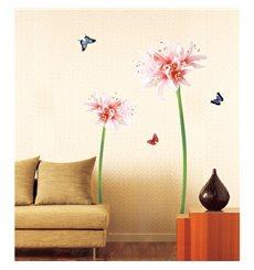 Sticker fleurs de Lis roses et blanches et papillons