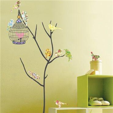 Sticker Oiseaux multicolores en cage - stickers oiseaux & stickers muraux - fanastick.com