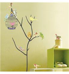 Sticker Oiseaux multicolores en cage