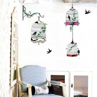 Sticker oiseaux en cages baroque - stickers oiseaux & stickers muraux - fanastick.com