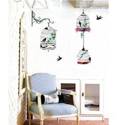 Sticker oiseaux en cages baroque