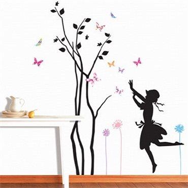Sticker arbre petite fille et papillons - stickers arbre & stickers muraux - fanastick.com
