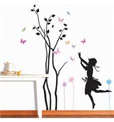 Sticker arbre petite fille et papillons