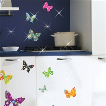 Sticker papillons multicolores 2 + 30 Swarovski Elements - stickers swarovski® elements & stickers muraux - fanastick.com
