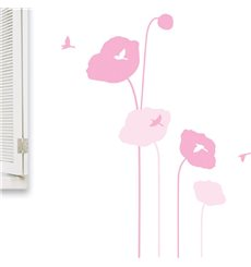 Sticker fleurs tulipes roses et oiseaux