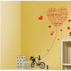 Sticker Love You avec chats et vélo