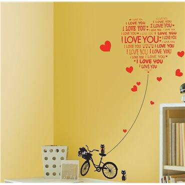 Sticker Love You avec chats et vélo - stickers amour & stickers muraux - fanastick.com