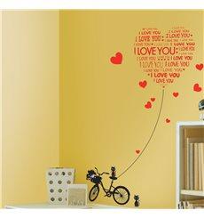 Sticker Love You avec chats et vélo