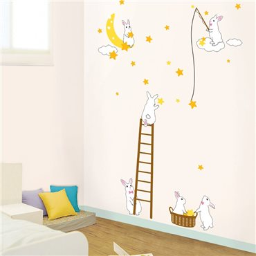 Sticker Lapins et étoiles - stickers animaux enfant & stickers enfant - fanastick.com