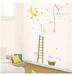 Sticker Lapins et étoiles