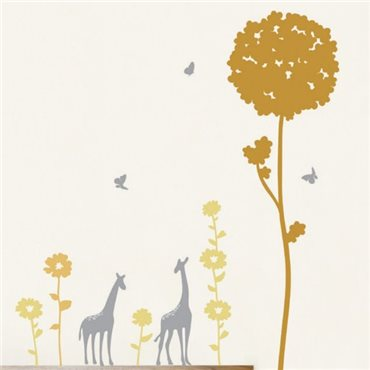 Sticker fleurs d'Afrique et giraffes - stickers fleurs & stickers muraux - fanastick.com