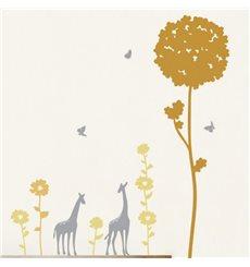 Sticker fleurs d'Afrique et giraffes