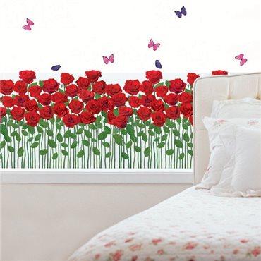 Sticker Jardin de roses rouges - stickers fleurs & stickers muraux - fanastick.com