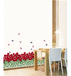 Sticker Jardin de roses rouges