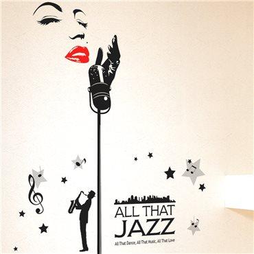 Sticker Chanteur de Jazz - stickers salon & stickers muraux - fanastick.com