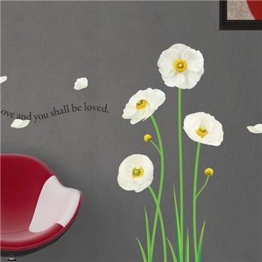 Sticker Fleurs pavots blanches - stickers fleurs & stickers muraux - fanastick.com