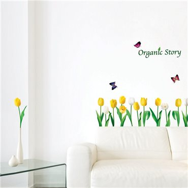 Sticker fleurs tulipes blanches et jaunes - stickers fleurs & stickers muraux - fanastick.com