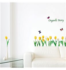 Sticker fleurs tulipes blanches et jaunes